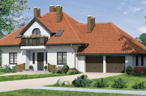 Czerwony dach z dachówki